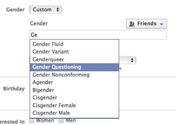 Facebook now allows more gender identity options