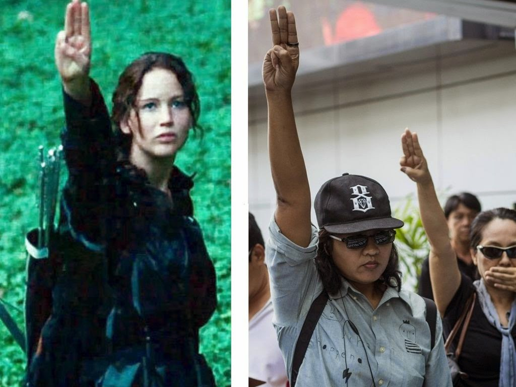 """Protestors in Thailand are using the """"Hunger Games"""" salute"""