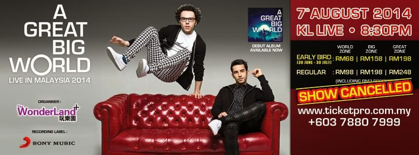 A Great Big world concert in Malaysia is cancelled!