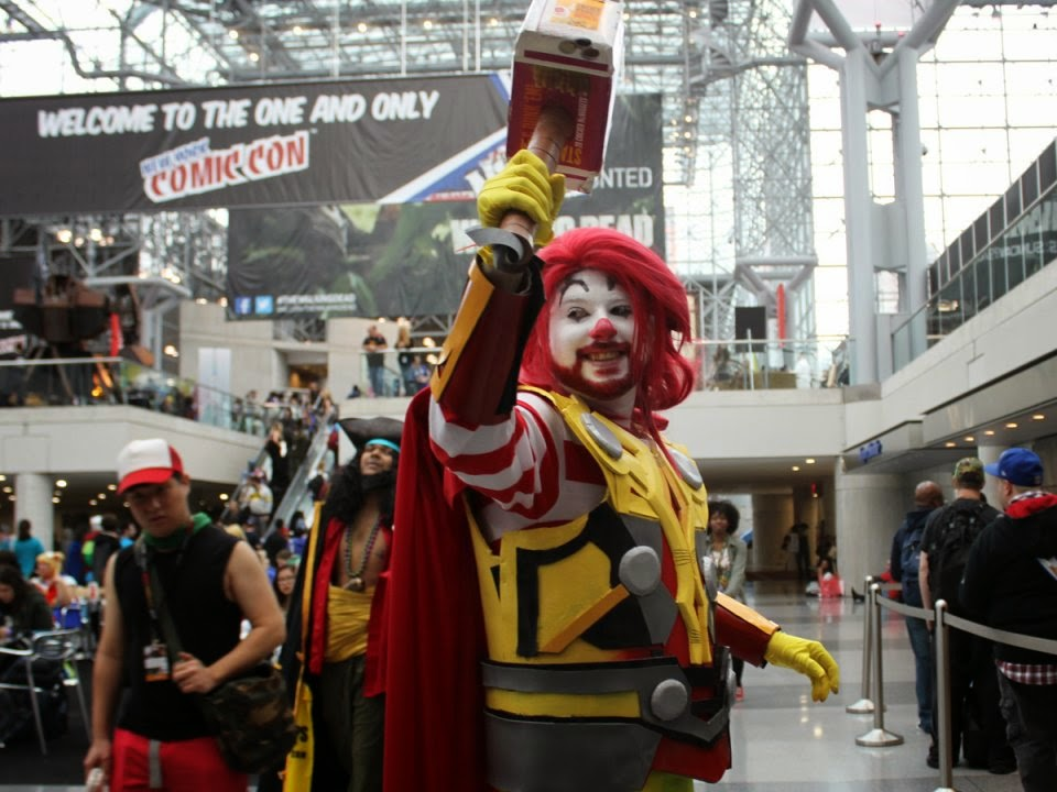the winner for most creative friday cosplay goes to mcthor who threw down his nugget hammer of justice at the con
