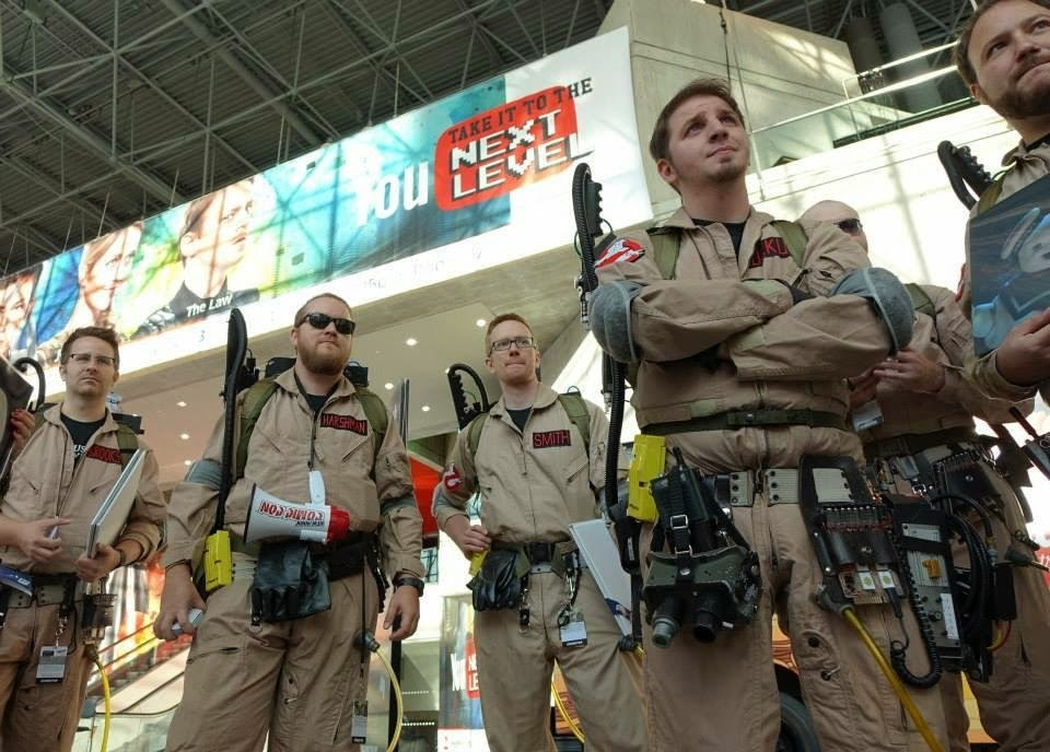 they were with sony getting ready to march through the con playing the ghostbusters theme to promote an exclusive vinyl record for the films 30th anniversary
