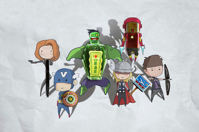 Artist completes Marvel characters with random objects