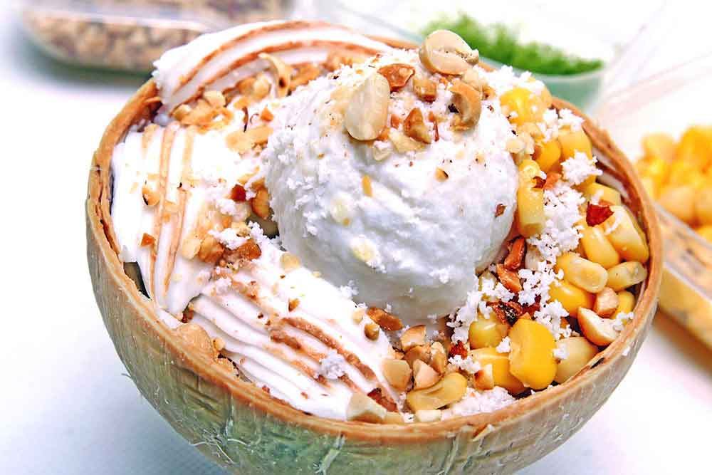 Coconut ice cream with nuts and corn