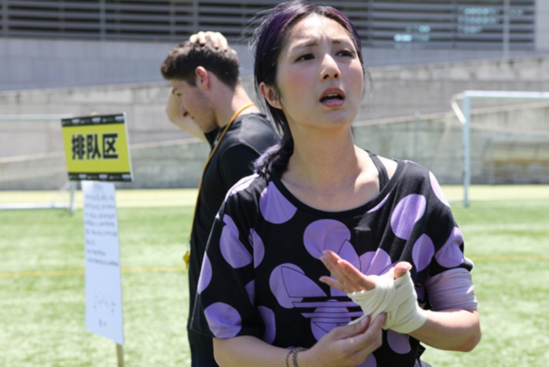 Miriam Yeung hit by a charging bull