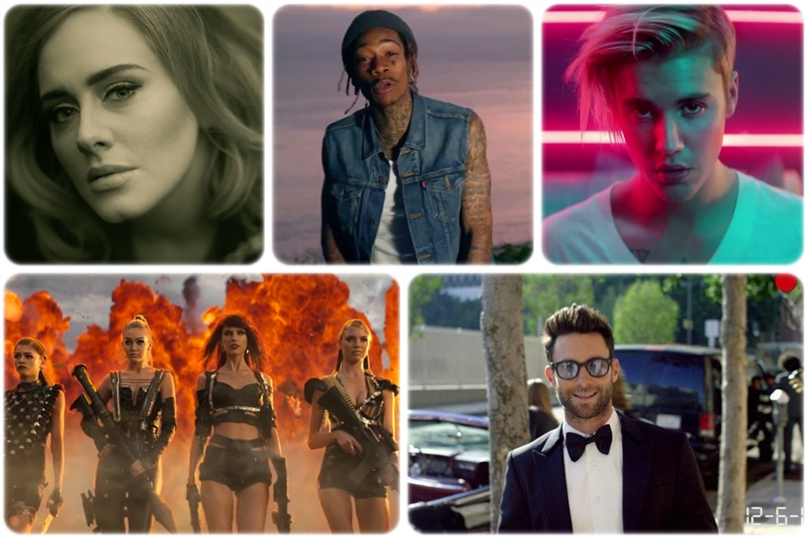 Top 10 most popular music videos in 2015
