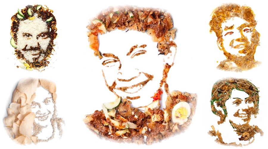 Amazing portraits of Malaysians created using local food