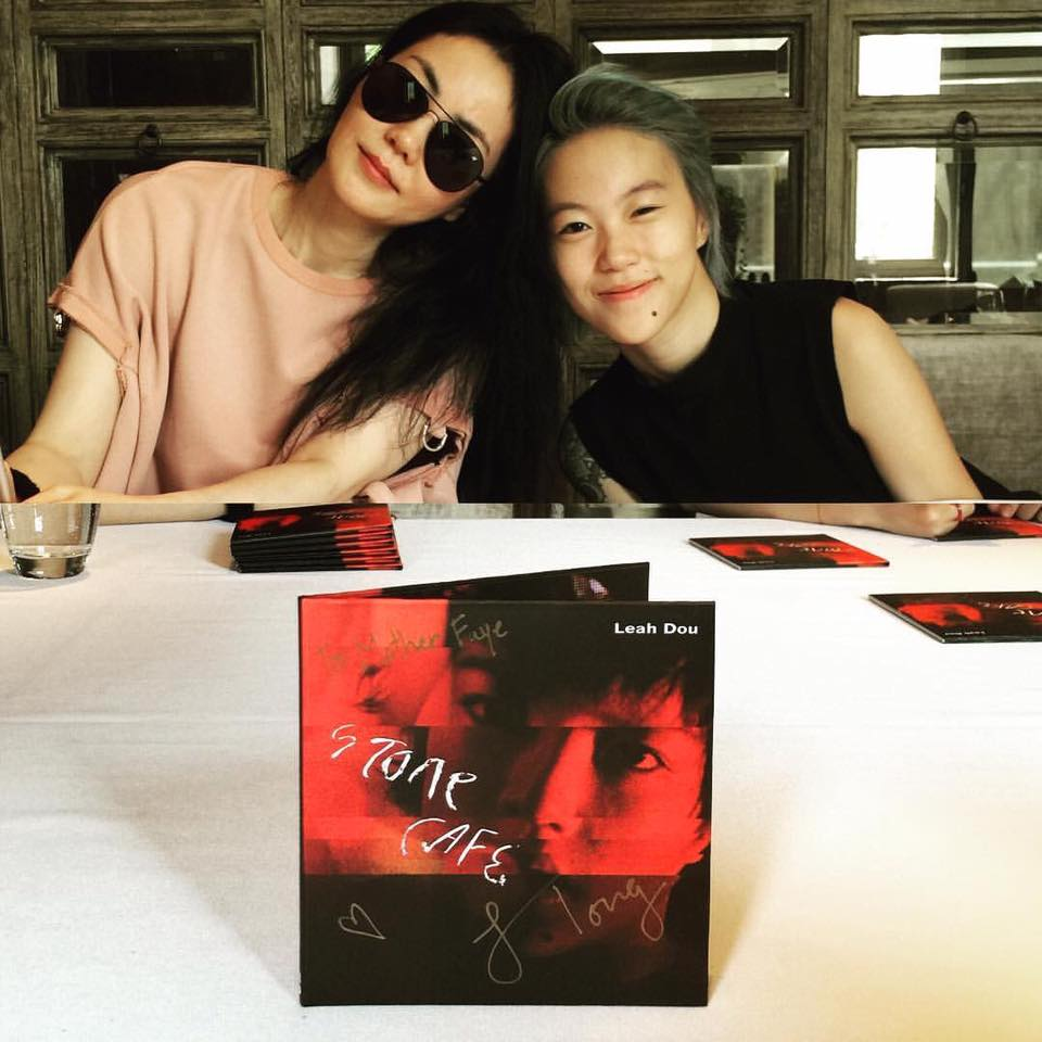 Faye Wong appears at Leah Dou's album signing event