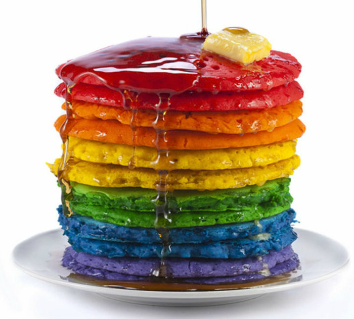 Rainbow Pancake Stack with Syrup e1419025495833