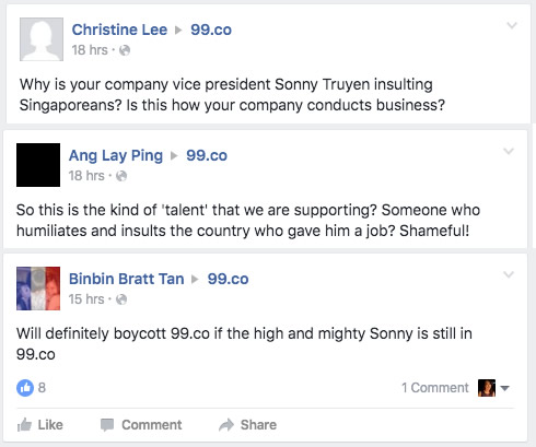 Facebook Flame War Singapore is Shit Country