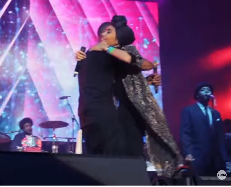 Yuna hugs Usher and people go crazy!