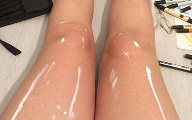 Shiny legs or white paints? The internet can't decide!