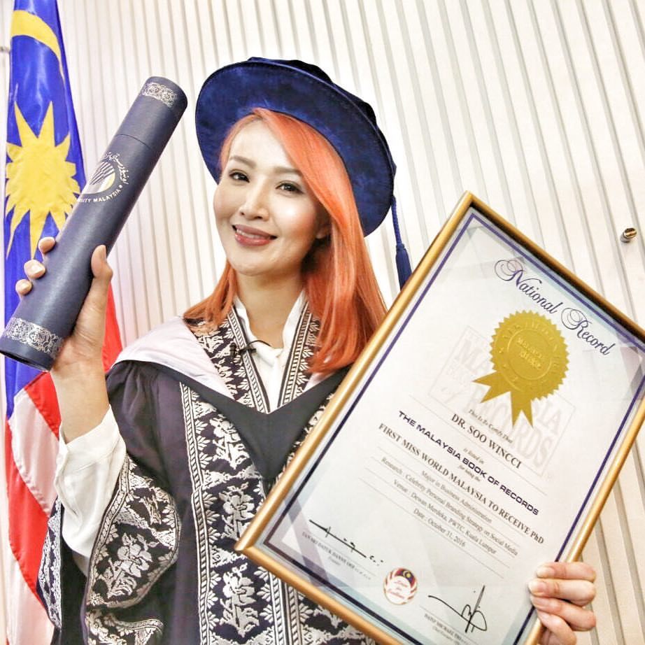 Soo Wincci enters Malaysia Book of Records with a PhD