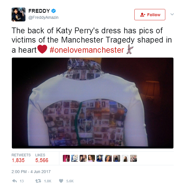 Katy Perry's wears outfit with photos of Manchester victims as tribute