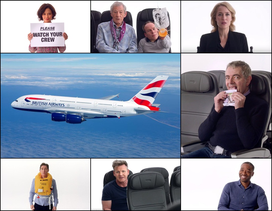 British Airways' safety video features a star-studded cast