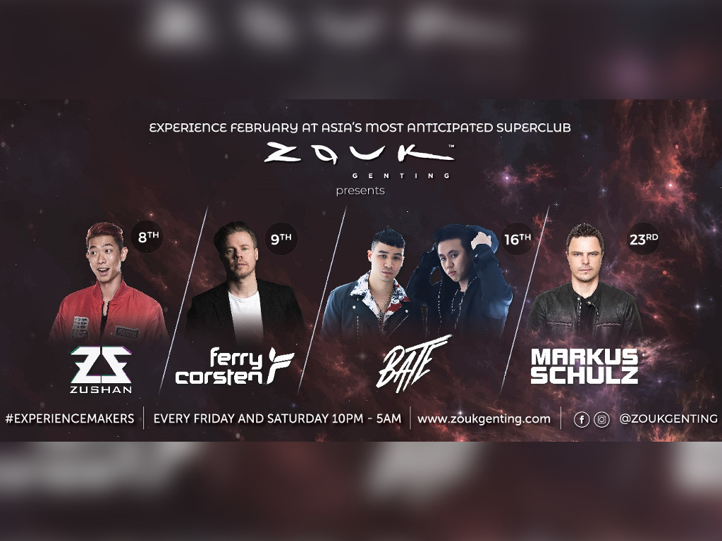 Have a fantastic February at Zouk Genting with these electrifying DJs