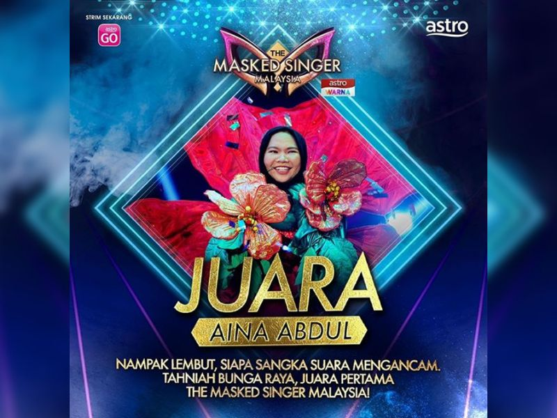 """Aina Abdul a.k.a. Bunga Raya is the first champion of """"The Masked Singer Malaysia""""!"""