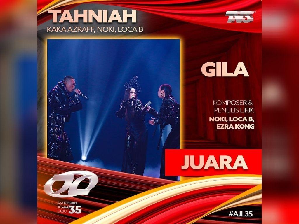 """""""Gila"""" won the ultimate prize at Anugerah Juara Lagu (AJL)"""