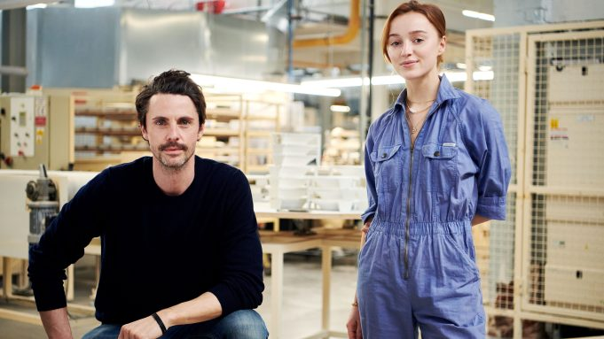 Phoebe Dynevor and Matthew Goode preparing for their roles in The Colour Room at Wedgwood 002 e1615966395944